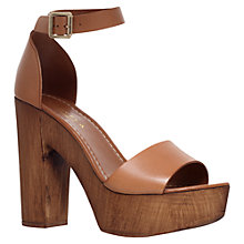 Buy Carvela Kara Leather Platform Block Heel Sandals, Tan Online at johnlewis.com