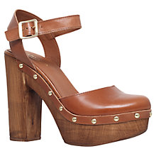 Buy Carvela Karen Leather Platform Clog Sandals, Tan Online at johnlewis.com
