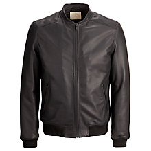 Buy Selected Homme Rag Leather Jacket, Black Online at johnlewis.com
