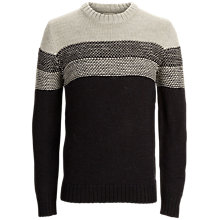 Buy Selected Homme Vision Stripe Crew Neck Jumper, Black/Nude Melange Online at johnlewis.com
