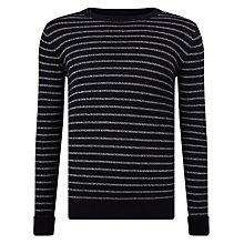 Buy Selected Homme Classic Stripe Button Collar Jumper, Dark Navy/Egret Online at johnlewis.com
