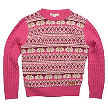 Buy Barbour Girls' Fox Fairisle Knit Jumper, Pink Online at johnlewis.com