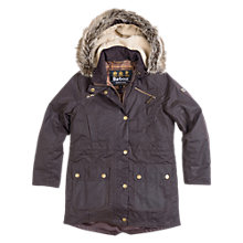 Buy Barbour Waxed Parka Coat, Rustic Brown Online at johnlewis.com