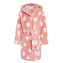 Buy John Lewis Girls' Heart Print Dressing Gown, Pink Online at johnlewis.com