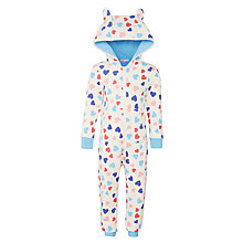 Buy John Lewis Girls' Sweet Heart Onesie, Oatmeal Online at johnlewis.com