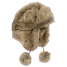 Buy Barbour Girls' Faux Fur Trapper Hat, Natural Online at johnlewis.com