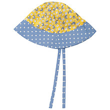 Buy Frugi Baby Reversible Ditsy Print Hat, Blue/Yellow Online at johnlewis.com