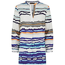 Buy Jaeger Linen Striped Tunic, Blue Online at johnlewis.com