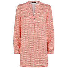 Buy Jaeger Linen Ditsy Print Tunic Top, Coral Pink Online at johnlewis.com