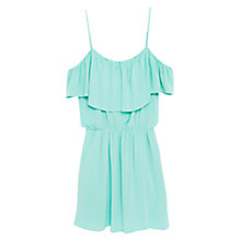Buy Mango Epaulettes Ruffle Dress, Turquoise Online at johnlewis.com