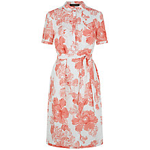 Buy Jaeger Linen Floral Shirt Dress, Coral Pink Online at johnlewis.com