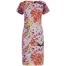 Buy Jaeger Silk Watercolour Floral Dress, Coral Pink Online at johnlewis.com