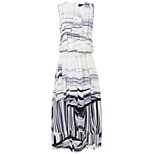 Buy Jaeger Silk Uneven Stripe Dress, Antique White Online at johnlewis.com