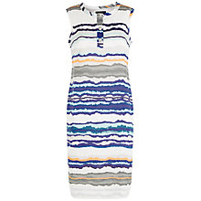 Buy Jaeger Linen Stripe Print Dress, Blue Online at johnlewis.com