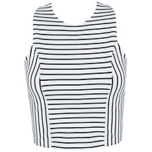Buy Miss Selfridge Stripe Wrap Back Top, White Online at johnlewis.com