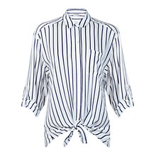 Buy Miss Selfridge Tie Front Stripe Shirt, White Online at johnlewis.com