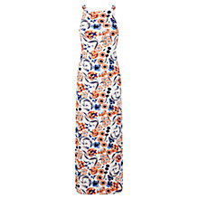Buy Miss Selfridge Petite Tie Back Floral Maxi Dress, Mid Grey Online at johnlewis.com