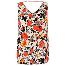 Buy Oasis Floral Printed Top, Multi White Online at johnlewis.com