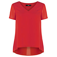 Buy Oasis Pleat V-neck Top, Bright Orange Online at johnlewis.com