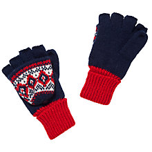 Buy John Lewis Festive Fairisle Flip Gloves, Navy Online at johnlewis.com