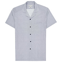 Buy Reiss Olivio Print Cuban Collar Short Sleeve Shirt, Soft Blue Online at johnlewis.com