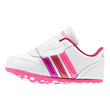 Buy Adidas V Jog Crib Sports Shoes, White/Pink Online at johnlewis.com