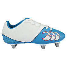 Buy Canterbury of New Zealand Children's Phoenix Club Six Stud Rugby Boots, White/Blue Online at johnlewis.com