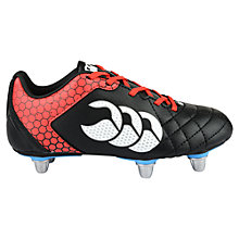 Buy Canterbury of New Zealand Children's Stampede Club Six Stud Rugby Boots, Black/Red Online at johnlewis.com