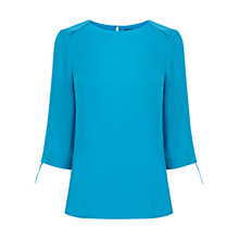 Buy Oasis Tie Sleeve Tilly Top, Turquoise Online at johnlewis.com