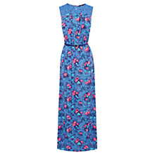 Buy Oasis Bird and Rose Print Maxi Dress, Mid Blue Online at johnlewis.com