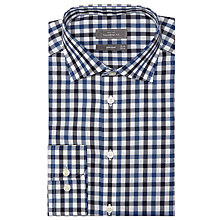 Buy John Lewis Gingham Check Oxford Tailored Shirt, Marine Blue Online at johnlewis.com