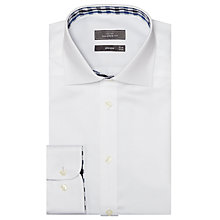 Buy John Lewis Satin Dobby Trim Tailored Shirt, White Online at johnlewis.com