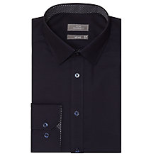 Buy John Lewis Satin Dobby Contrast Trim Tailored Shirt, Navy Online at johnlewis.com