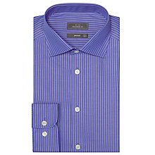 Buy John Lewis Fine Poplin Stripe Tailored Shirt, Royal Blue Online at johnlewis.com