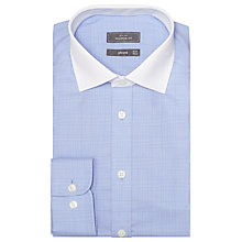 Buy John Lewis Graphic Check Contrast Collar Shirt, Blue Online at johnlewis.com