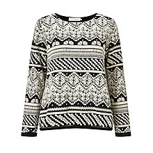 Buy Collection WEEKEND by John Lewis Jacquard Jersey Top, Black/Ivory Online at johnlewis.com