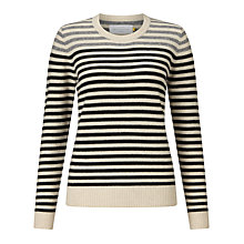 Buy Collection WEEKEND by John Lewis Crew Neck Cashmere Stripe Jumper, Black/Natural Online at johnlewis.com