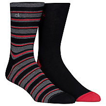Buy Calvin Klein Striped/Solid Socks, Pack of 2, Black/Red Online at johnlewis.com