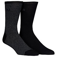 Buy Calvin Klein Fine Stripe/Solid Socks, Pack of 2, Black Online at johnlewis.com