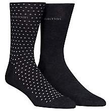 Buy Calvin Klein Cotton Mix Socks, Pack of 2, Pin Dot/Graphite Online at johnlewis.com
