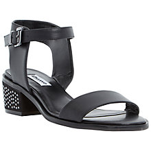 Buy Dune Mitzi Leather Block Heel Sandals, Black Online at johnlewis.com