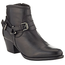 Buy John Lewis Petra Buckle Strap Leather Ankle Boots, Black Online at johnlewis.com
