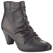 Buy John Lewis Pamela Ruched Leather Ankle Boots, Black Online at johnlewis.com