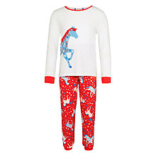 Buy John Lewis Girls' Horse Print Pyjamas, Red/Cream Online at johnlewis.com