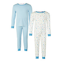Buy John Lewis Girls' Vintage Rose Print Pyjamas, Pack of 2, Blue Online at johnlewis.com