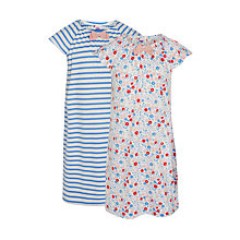 Buy John Lewis Girls' Floral and Stripe Nightdress, Pack of 2, Blue/Pink Online at johnlewis.com