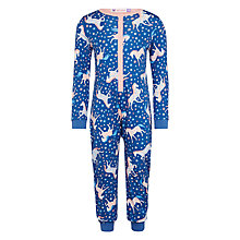 Buy John Lewis Girls' Jersey Horse Print Onesie, Navy Online at johnlewis.com