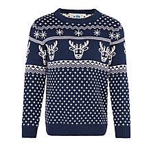 Buy John Lewis Boys' Reindeer Fairisle Knit Christmas Jumper, Navy Online at johnlewis.com