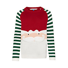 Buy John Lewis Boy's Santa Face Knitted Jumper, Red/Green Online at johnlewis.com