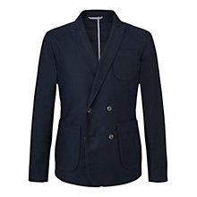 Buy Jigsaw Linen Cotton Double Breasted Jacket, Navy Online at johnlewis.com